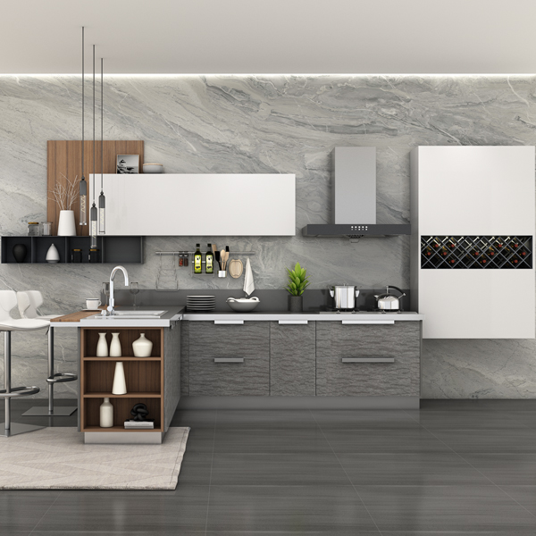 modern acrylic kitchen cabinet design with steel wine rack