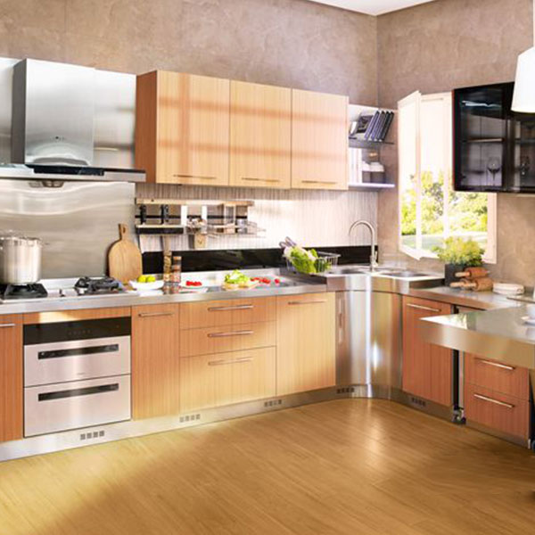 Fashionable stainless steel kitchen cabinet from modular kitchen cabinet factory