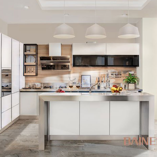 white glass  kitchen cabinet from stainless steel kitchen cabinet factory