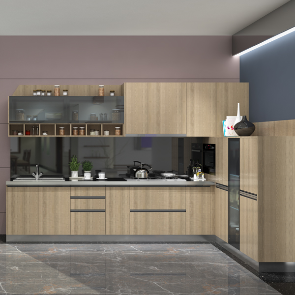 modern melamine kitchen cabinet sets design with glass kitchen cabinet door