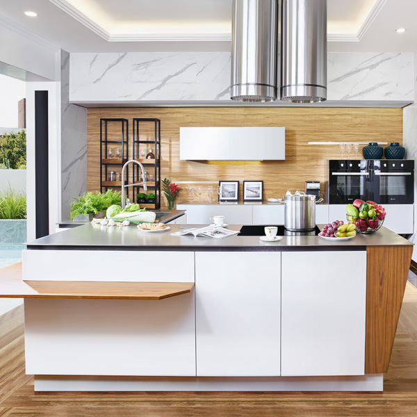 modern style lacquer stainless steel kitchen design with kitchen island