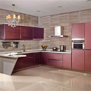 Glass stainless steel kitchen cabinet Model No. GL02