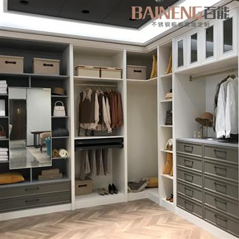 high end home furniture stainless steel walk-in closet