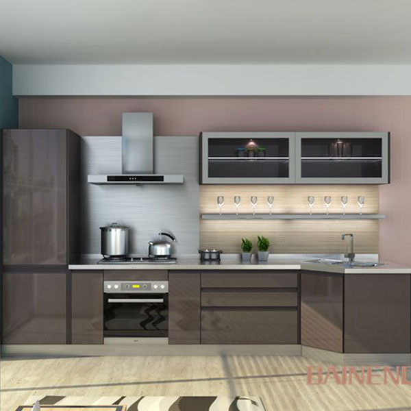 Glass stainless steel kitchen cabinet Model No. GL04